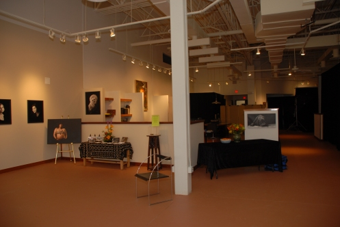 view of the studio from the front gallery
