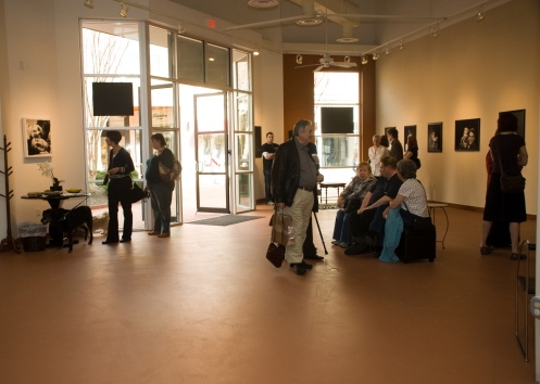 view of the gallery from the back of the studio
